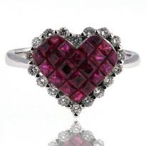 Ruby Diamond Heart Ring in 14kt White Gold