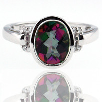 Mystic Topaz Ring in 14kt White Gold w. Dia