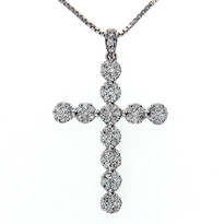 18kt White Gold GVS2 Diamond Cross