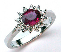 Ruby Ring .85ct  in 18k White Gold