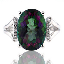 14kt White Gold Mystic Topaz Diamond Ring