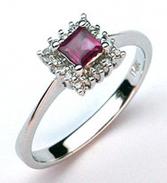 1/3ct Princess Cut Ruby/Diamond Ring