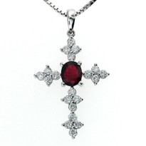 18kt White Gold Ruby Diamond Cross