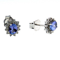 Tanzanite Diamond Earrings in 14kt White
