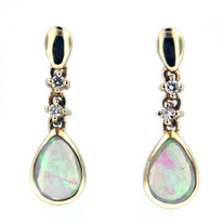 Dangling Opal Diamond Earrings in 14kt Yellow