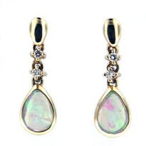 Dangling Opal Diamond Earrings in 14kt Yellow