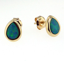 14kt Yellow Gold Pear Opal Earrings