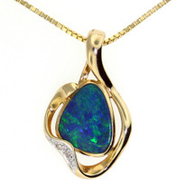 Opal Diamond Pendant in 14kt Yellow Gold