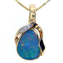 14kt Yellow Gold Opal Diamond Pendant