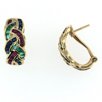 14kt Yellow Gold Multi Color Earrings
