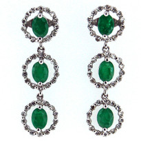 Dangling Emerald Diamond Earrings in 18kt White