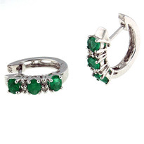 Emerald Diamond Earring set in 14kt White Gold
