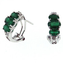 Emerald Diamond Earrings in White Gold