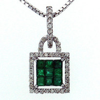 14kt White Gold Emerald Diamond Pendant