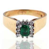 14kt Two Tone Emerald Ring with Dia