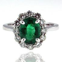 14kt White Gold Emerald Diamond Ring