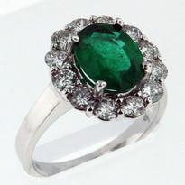 Emerald Diamond Ring in 18kt White Gold