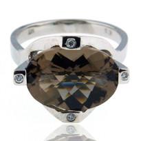 Smokey Topaz Diamond Ring in 14kt White Gold
