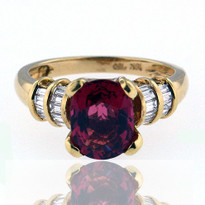 18kt Yellow Gold Tourmaline Ring with Diamond