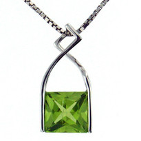 Square Peridot Pendant in 14kt White Gold