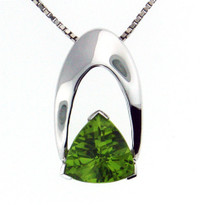 Peridot Pendant in 14kt White Gold