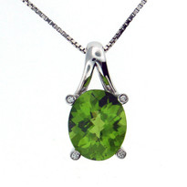 14kt White Gold Peridot Diamond Pendant