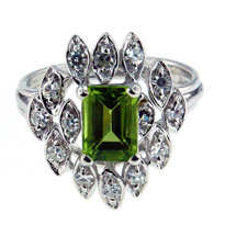 Peridot Diamond Ring in 14kt White Gold
