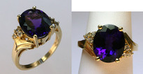 14kt Yellow Gold Amethyst .15ct Diamond Ring
