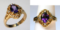 1.04ct Amethyst Diamond Ring in 14kt Yellow Gold