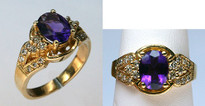 14kt Yellow Gold 2.02ct Amethyst Diamond Ring