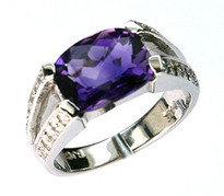 14kt White Gold Amethyst Diamond Ring 21016