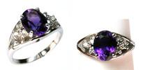 Amethyst Diamond Ring set in 14kt White Gold