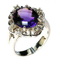 14kt White Gold Amethyst Diamond Ring