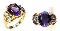 14kt Yellow Gold Amethyst Ring with .36ct Diamonds
