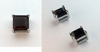 14kt White Gold Square Garnet Earrings