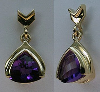 Dangling 14kt Yellow Gold Amethyst Earrings