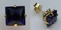Square Amethyst Gemstone Earrings in 14kt Yellow Gold