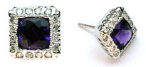 Amethyst Earrings in 14kt White Gold with .42ct Diamonds