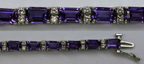 14kt White Gold Amethyst Bracelet with 1.05ct Diamonds