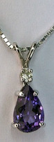 14kt White Gold Pear Amethyst Pendant with Dia