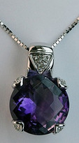 14kt White Gold Amethyst Pendant with Diamonds