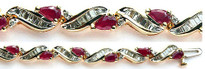 "7 3/4"" Ruby Bracelet with Diamonds set in 14k Yellow Gold"