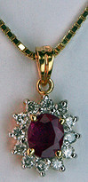 Ruby Pendant .74ct  set in 14k Yellow Gold