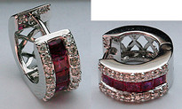 Diamond Huggies with Rubies (32 Diamonds)