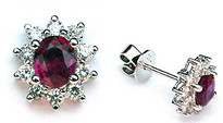 Ruby Studs .80ct  with Diamonds