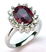 14k White Gold Ruby Ring with Diamonds