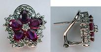 Star Shaped Ruby & Diamond Earrings
