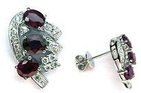 White Gold Ruby Earrings (3 Rubies)