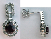 Hanging Ruby & Diamond Earrings