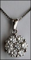 1ct Diamond Cluster Pendant w/ White Gold Chain